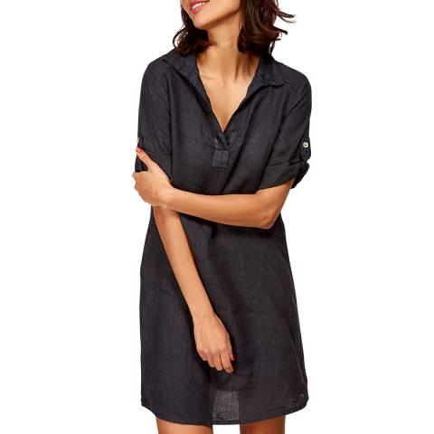 LE MONDE DU LIN Navy Mini Linen Dress