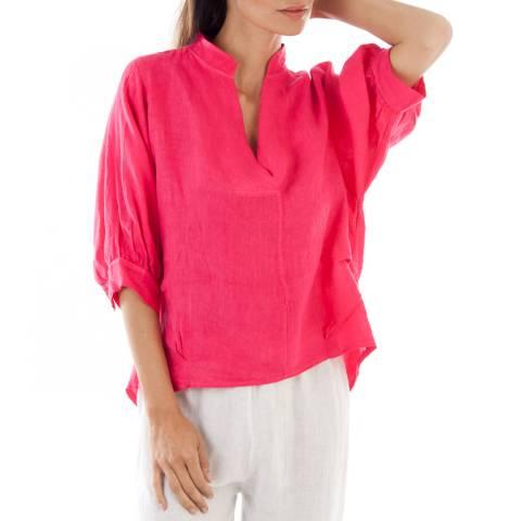 LE MONDE DU LIN Pink Relaxed Linen Blouse