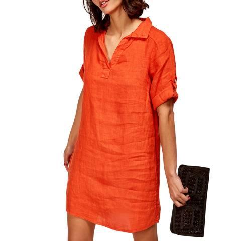 LE MONDE DU LIN Orange Mini Linen Dress