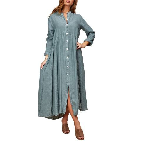 LE MONDE DU LIN Blue Buttoned Through Linen Dress