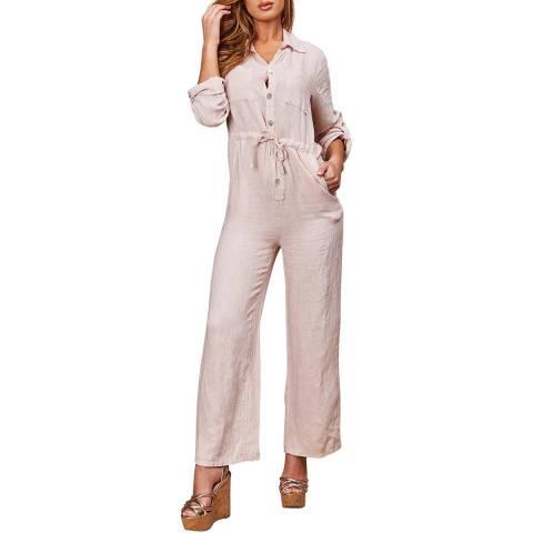 LE MONDE DU LIN Pink Salopette Linen Jumpsuit