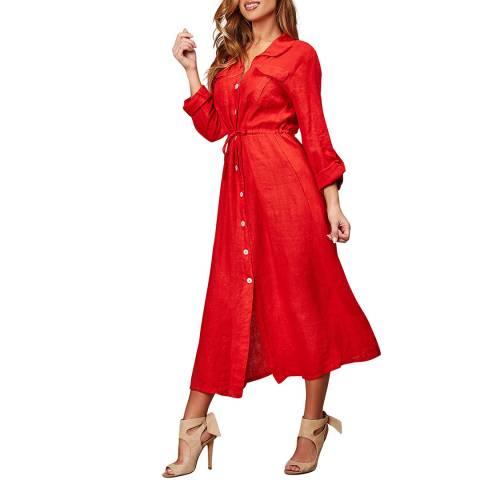 LE MONDE DU LIN Red Self Tie Linen Dress