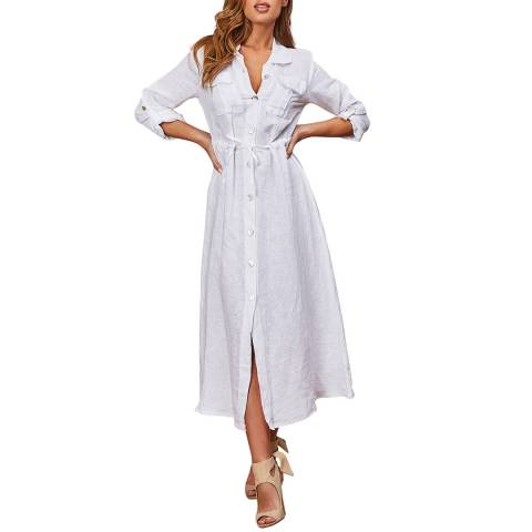 LE MONDE DU LIN White Maxi Linen Dress