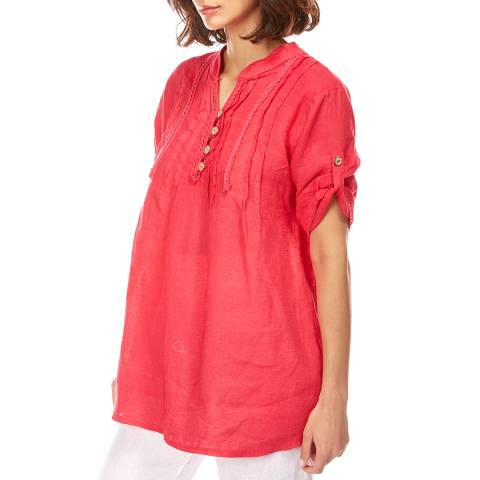 LE MONDE DU LIN Red V Neck Linen Shirt
