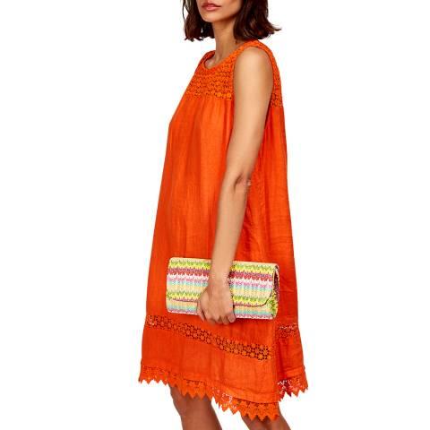 LE MONDE DU LIN Orange Lace Linen Dress