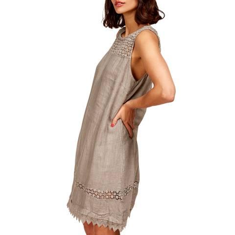 LE MONDE DU LIN Grey Lace Linen Dress