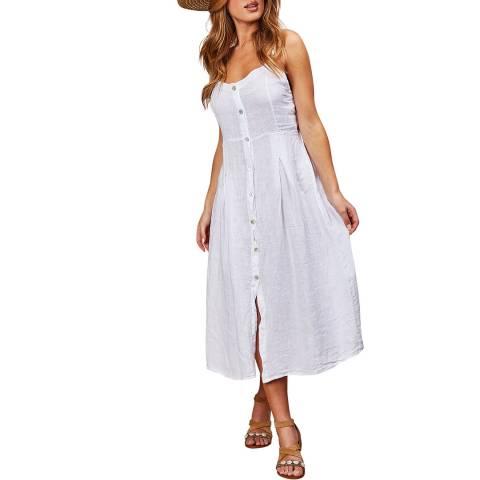 LE MONDE DU LIN White Sleeveless Linen Maxi Dress