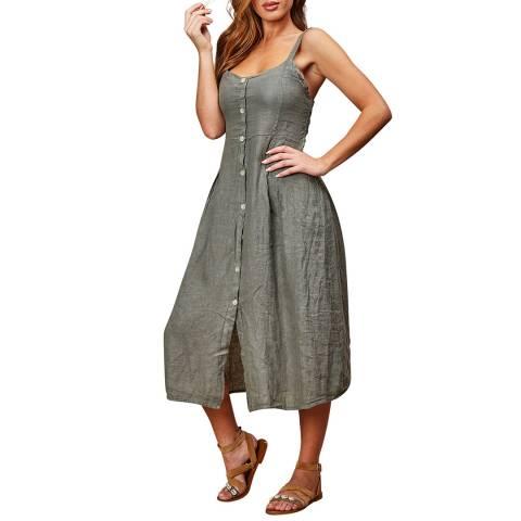 LE MONDE DU LIN Green Sleeveless Linen Maxi Dress