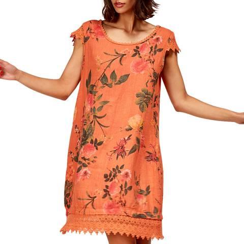 LE MONDE DU LIN Orange Mini Floral Linen Dress