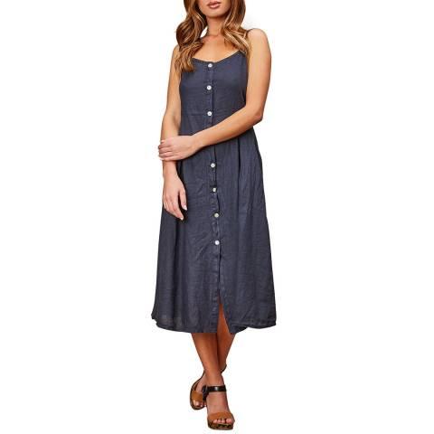 LE MONDE DU LIN Navy Sleeveless Linen Maxi Dress