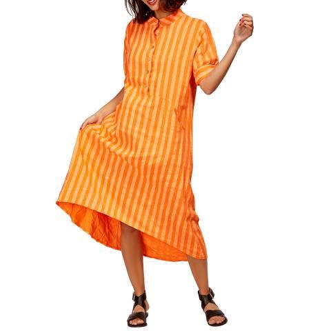 LE MONDE DU LIN Orange Maxi Linen Dress