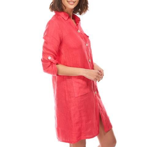 LE MONDE DU LIN Pink Buttoned Through Linen Dress