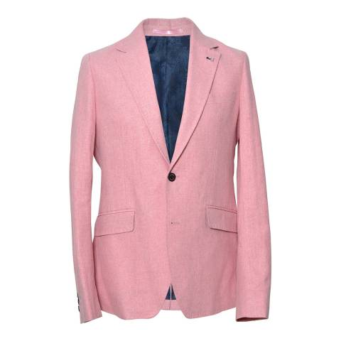 Gianni Feraud Pink Crosshatch Slim Fit Blazer