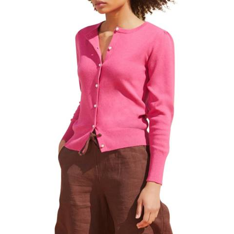 Rodier Pink Buttoned Through Cardigan