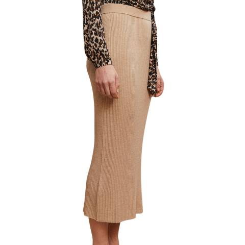 Rodier Beige Midi Fitted Skirt