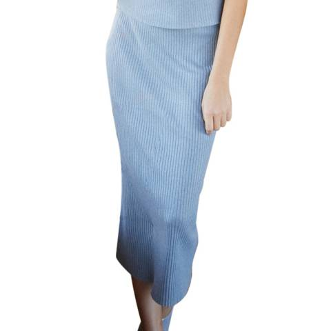 Rodier Blue Midi Fitted Skirt