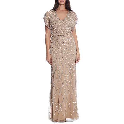 Adrianna Papell Champagne Blouson Beaded Dress
