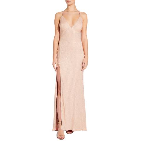 Aidan Mattox Rose Gold Foiled Knit Long Dress