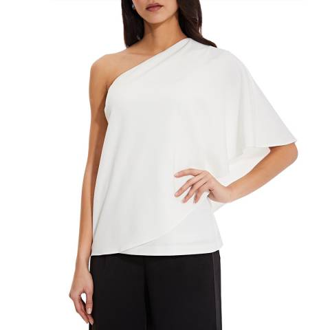 Adrianna Papell White Crepe Draped Top