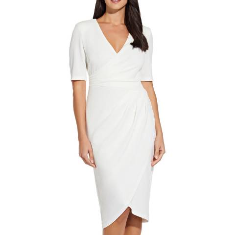 Adrianna Papell Ivory Rio Knit Draped V-Neck Sheath
