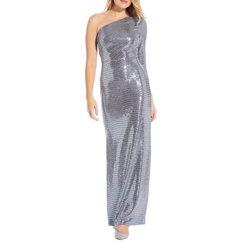 Adrianna Papell Blue Mirror Foil One Shoulder Gown