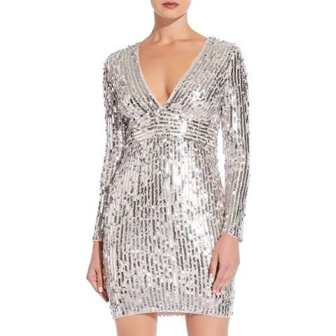 Aidan Mattox Silver Long Sleeve Sequin Dress