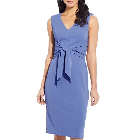Adrianna Papell Blue Rio Knit Draped Tie Sheath