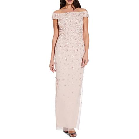 Adrianna Papell Shell Off Shoulder Beaded Gown
