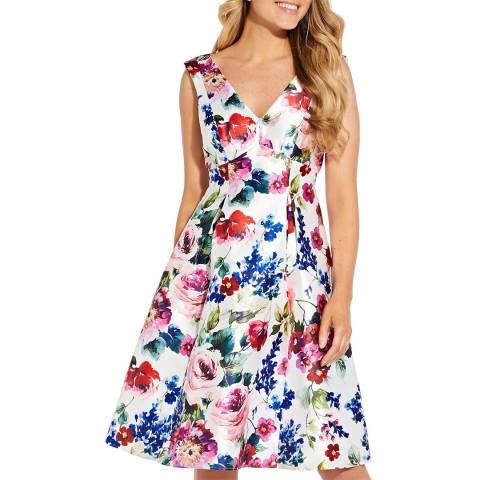 Adrianna Papell Floral Mikado Midi Dress