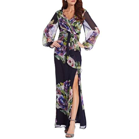 Adrianna Papell Navy/Multi Floral Printed Chiffon Gown