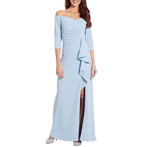 Adrianna Papell Blue Off Shoulder Crepe Gown