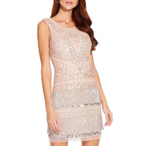 Adrianna Papell Pink Beaded Fringe Cocktail Dress
