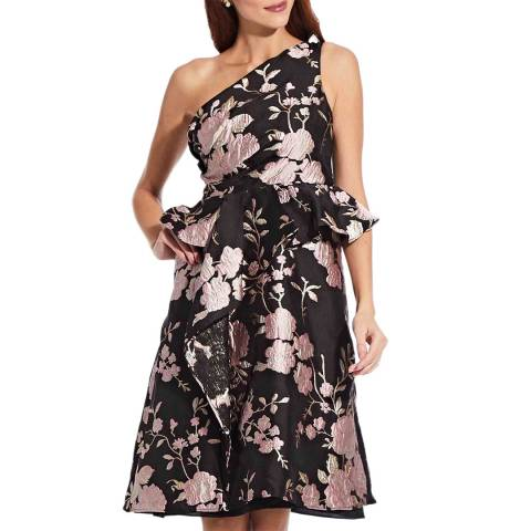 Adrianna Papell Black One Shoulder Jacquard Dress
