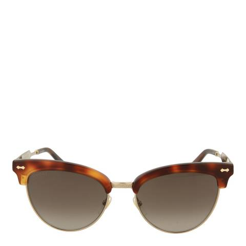 Gucci Women's Gold/Brown Cat Eye Gucci Sunglasses 55mm