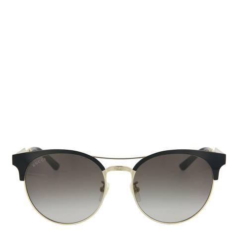 Gucci Women's Shiny Black/Gold Gucci Sunglasses 56mm