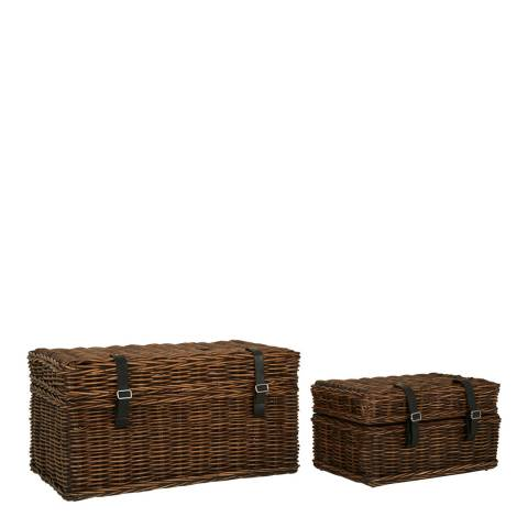 Fifty Five South Set of 2 Argento Storage Trunks, Antique Brown Kubu Rattan