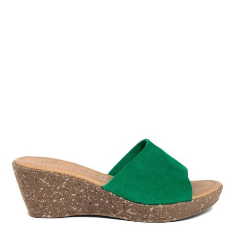 Miss Butterfly Green Suede Wedge Slip On Sandals