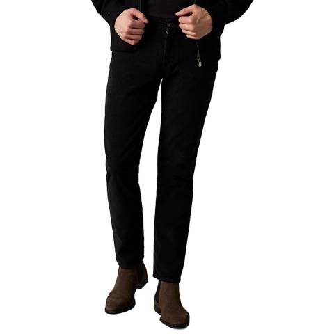 7 For All Mankind Black Slimmy Tapered Trousers