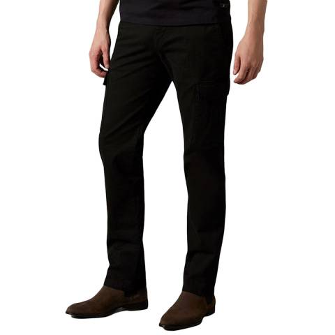 7 For All Mankind Black Twill Slimmy Cargo Chinos
