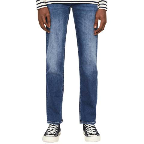 7 For All Mankind Blue Standard Regular Cotton Stretch Jeans