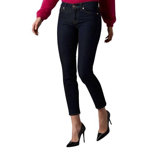 7 For All Mankind Dark Denim Roxanne Crop Stretch Jeans