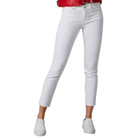 7 For All Mankind White Roxanne Crop Stretch Jeans