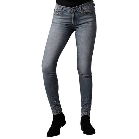 7 For All Mankind Grey Skinny Illusion Crystal Stretch Jeans