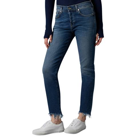 7 For All Mankind Blue Asher Destroyed Luxe Stretch Jeans