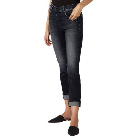 7 For All Mankind Black Washed Relaxed Skinny Illusion Stretch Jeans