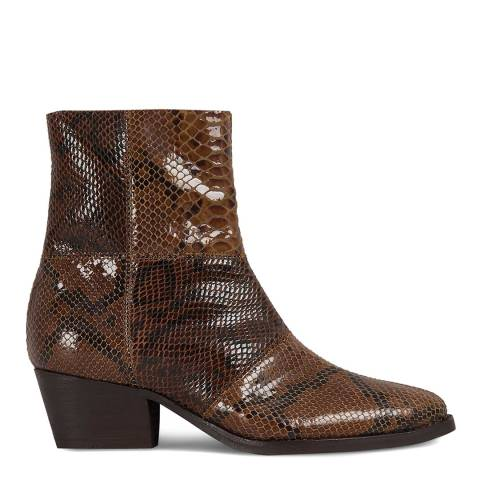 H by Hudson Brown Snake Print Fogg Ankle Boots