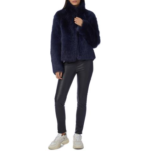 Max and Zac London Navy Reversible Shearling Jacket