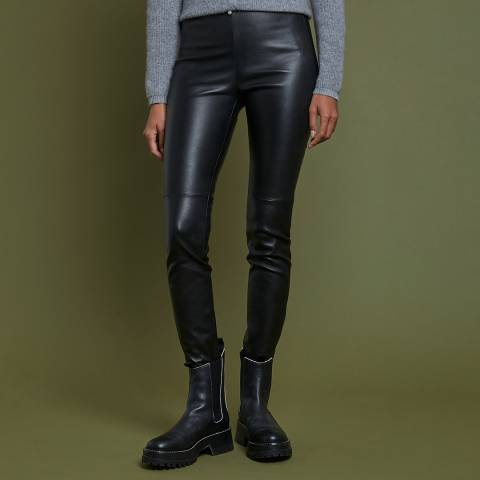 Max and Zac London Black High Waist Leather Trouser