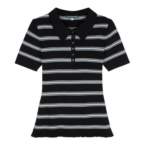 ALEXA CHUNG Black/White Striped Ribbed Top