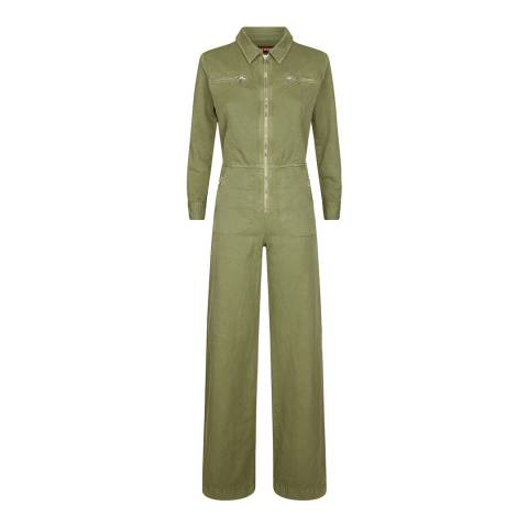 ALEXA CHUNG Washed Green Linen/Denim Boiler Suit